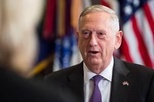 jim mattis, in baghdad, says is are 'on the run'