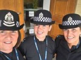 police sexism row after posting selfie of female offices