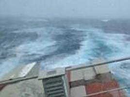 container ship makes tip while on the north atlantic