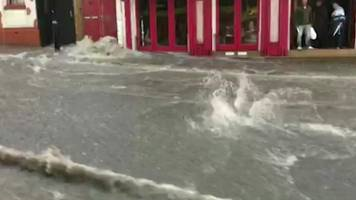 scarborough flash flood turns streets into rivers