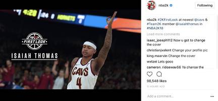 nba 2k18 reveals isaiah thomas' in-game cleveland cavs uniform first look