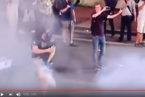 Anti-Trump Protester Is Hit in the Groin in Viral Video