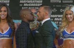 conor mcgregor and floyd mayweather face off at final pre-fight press conference