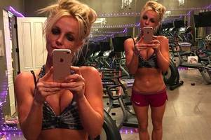 Britney Spears shares another amazing boob-baring selfie as she works up a sweat in home gym
