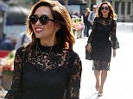 myleene klass braves the london heat in a lacy midi dress