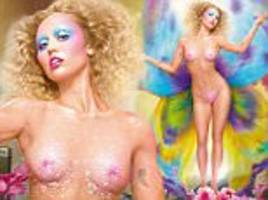 miley cyrus poses completely naked as a nude butterfly