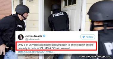 congress quietly passed a bill allowing warrantless searches of homes - only 1% opposed it