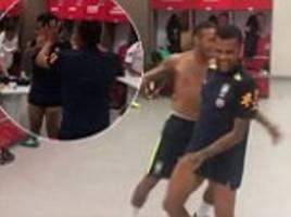neymar joins dani alves for a game of table football