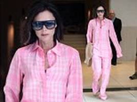 victoria beckham rocks pyjama-style co-ord in nyc
