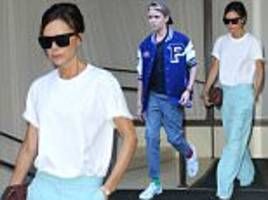 victoria beckham looks chic in flared trousers in nyc