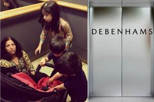 mum claims debenhams refused to call fire brigade to rescue her family after they got stuck in lift