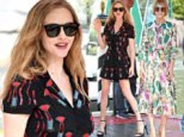 amanda seyfried wears lipstick dress at venice festival