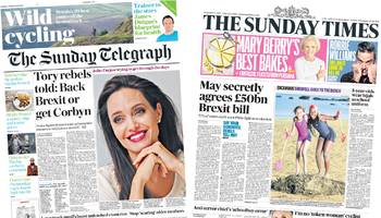 newspaper headlines: 'secret' brexit bill, and tory rebels warned