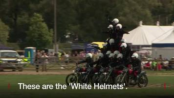 watch: motorcycle acrobatic show team start final tour