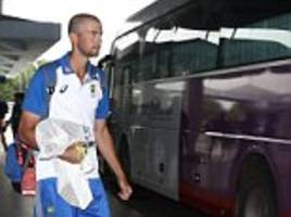 cricket: australia's team bus window smashed by a rock