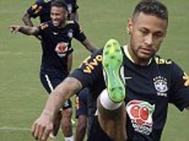neymar trains with brazil team-mates before colombia game