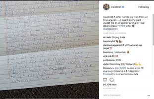 "meek mill reveals handwritten note: ""letter i wrote my man from jail 10 years ago"""