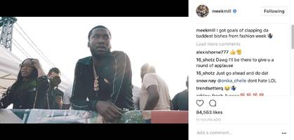 "someone hide nicki minaj & cardi b, meek mill's on the prowl: ""i got goals of clapping da baddest bishes from fashion week"""