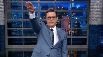 outrage grows after stephen colbert gives trump nazi salute