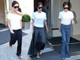 victoria beckham sports 3 near identical outfits for nyfw