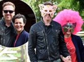 damian lewis and wife helen mccrory in jovial spirits