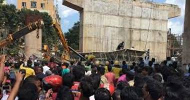 under construction flyover collapses in bhubaneswar leaving one dead