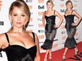 jennifer lawrence wears a tight dress for mother! at tiff
