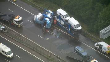 Two die on M1 near Northampton after transporter crosses carriageways