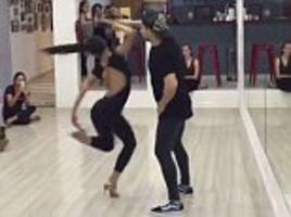 Moment a female dancer spins 100 TIMES during dance class