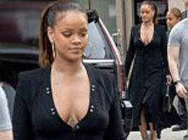 rihanna puts on busty display for a helicopter ride in nyc