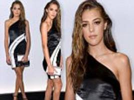 sistine stallone dons dress for ralph lauren's nyfw show