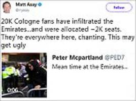 Twitter users criticise 'disgraceful' Cologne fans