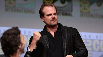 see david harbour in full hellboy gear, and daniel dae kim talks casting