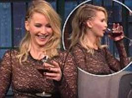 hungover jennifer lawrence drinks through late night show