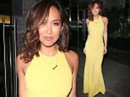 myleene klass showcases curves in yellow dress