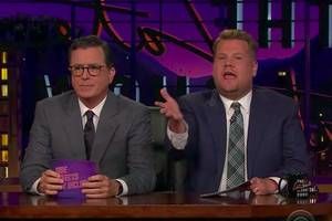 stephen colbert sticks around for 'side effects may include' with james corden (video)