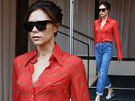 victoria beckham flashes nipples in chic shirt in nyc