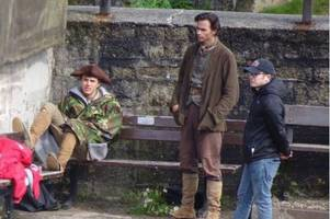 poldark fever returned to charlestown today - but you would have had to be quick to spot aidan turner