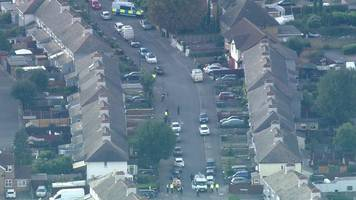 aerial footage of police cordon