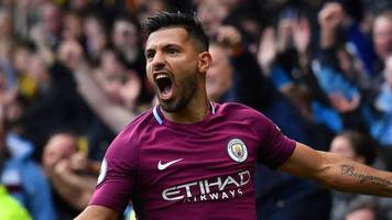 aguero score hat-trick as man city thrash watford
