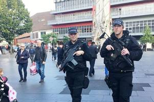 armed officers on patrol in leicester city centre today as terror threat remains critical
