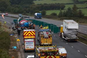'Dad killed as mum and kids fight for life' after 'lorry tyre blew' in horror M5 crash