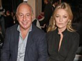 sir philip cosies up to kate moss at topshop's lfw show