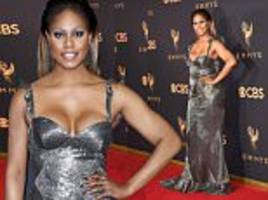 laverne cox slays on emmys red carpet in metallic gown