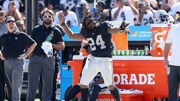 marshawn lynch of the oakland raiders dances on the sideline