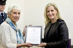 hrh sophie, the countess of wessex, presents west cornwall women's aid with queen's award for volunteering
