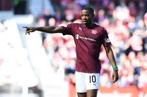 hearts injury blow as arnaud djoum is ruled out for up to five weeks with ligament damage