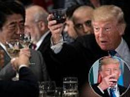 Alcohol-free Trump toasts and drinks at the UN