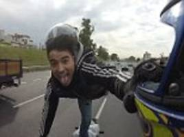 argentinian daredevil biker stopped by police