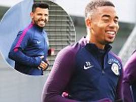 man city's squad laugh and joke in training session